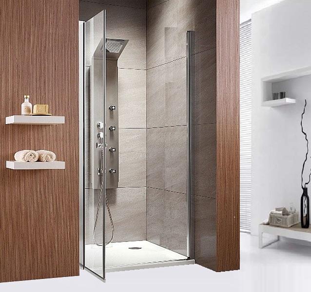Душевая дверь в нишу Radaway EOS DWB 70 прозрачное стекло R плиточная отделка ванной комнаты